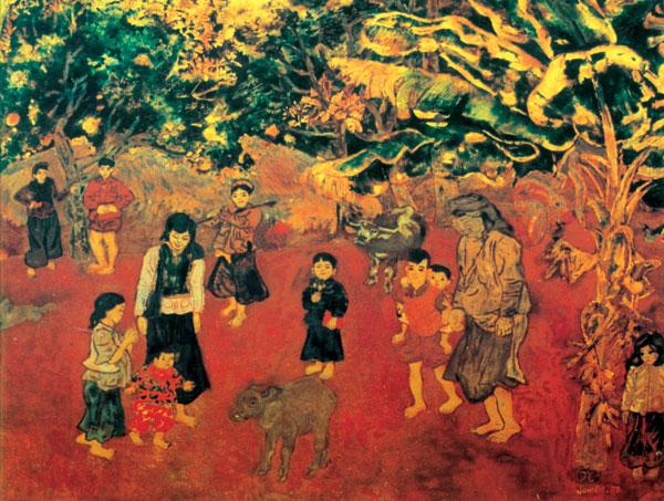 Con nghé quả thưc - Nguyễn Tư Nghiêm - 1957 - sơn mài