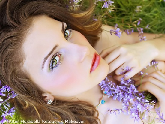 beautiful young woman with violet flowers