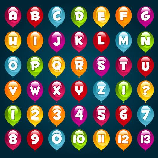 Vector những quả bóng sắc màu có chữ sáng tạo.
