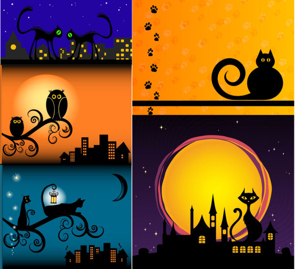 Vector những chú mèo trong màn đêm