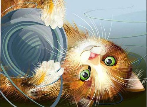 Vector, tranh nghệ thuật mô phỏng mèo