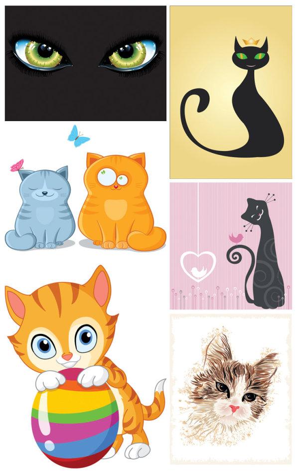 Vector những chú mèo tinh nghịch.