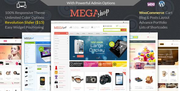 Mega Shop v1.3 chủ đề Shop với sự hỗ trợ của WooCommerce.