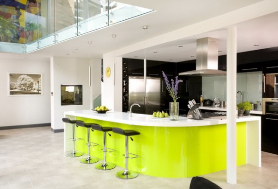 White open plan kitchen breakfast bar lime green acrylic island unit stools Corian worktop hob extractor fan hood tiled flooring real home 25 BK 2007 Not Used