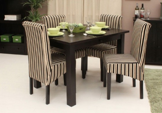 Fantastic Small Dining Tables Minimalist Round Style Furniture with Upholstered Stripes Chair Design Combined with Dark Wooden Table