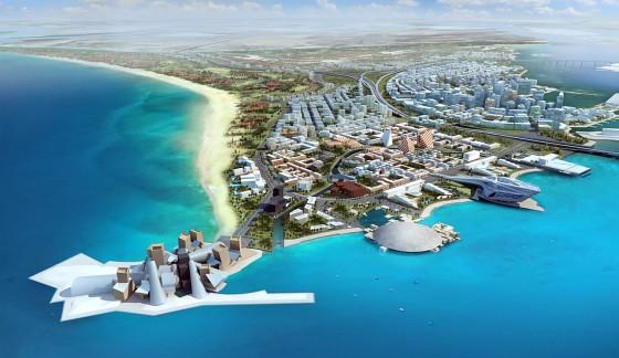 illustration of Saadiyat Island cultrual district Abu Dhabi, United Arab Emirates