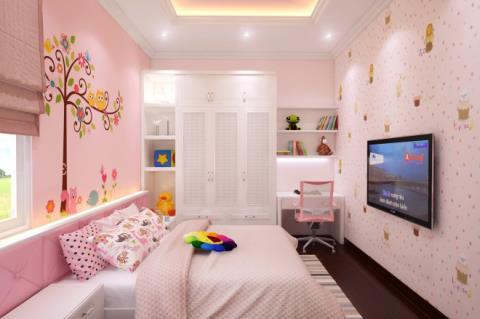 Không gian với màu sơn hồng đào ấm áp đón tết5s