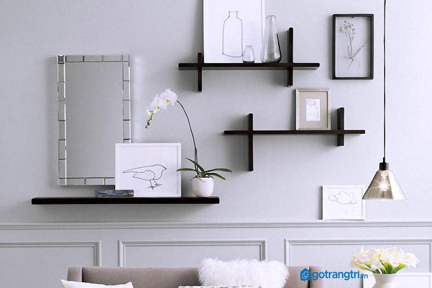 kệ-gỗ-treo-tường-phòng-khách