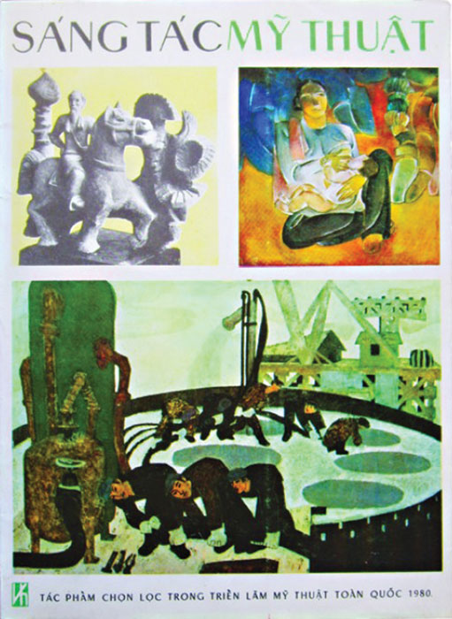 """Trang bìa cuốn """"Sáng tác Mỹ thuật"""", NXB Văn hóa, giới thiệu các tác phẩm chọn lọc trong Triển lãm Mỹ thuật Toàn quốc 1980, một triển lãm báo hiệu cho mỹ thuật thời kỳ đổi mới."""